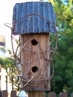 Birdhouse with tin roof!