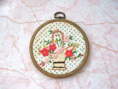 Vintage Handcrafted Embroidery Needlework in Hoop Frame Flower Basket by lookonmytreasures on Etsy