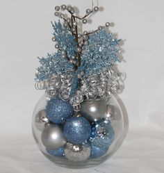 christmas centerpiece ice blue and sapphire holiday decoration christmas home decor blue christmas decoration hostess gift