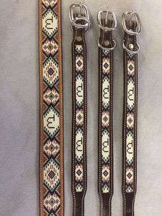 Beaded Leather Dog Collar by HighDesertBeadCraft on Etsy