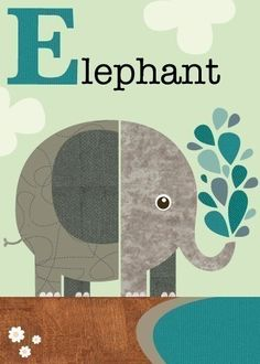 Letter E elephant by JennSki on Etsy