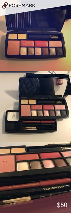 Lancôme Absolu Voyage Complete Make Up Palette Travel makeup palette with 2 concealers, 1 powder blusher, 2 solid lip colors, 1 lip gloss, 4 eye shadows, 1 compact powder, 1 mascara, 1 black pencil, 1 lip contour pencil. Used once. Lancome Makeup