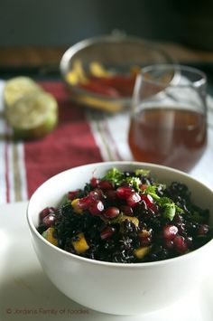 Forbidden Rice Fruit Salad: Forbidden rice is a dark, short-grained variety used in Asian cuisine. Lime juice, avocado oil and honey make a delicious tropical dressing for this medley of black rice, mango and pomegranate seeds. This recipe comes to us from Jordan's Family of Foodies. #KidsCookMonday