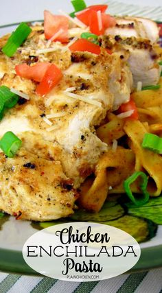 Chicken Enchilada Pasta - lime chipotle marinated chicken, grilled and served over a quick homemade alfredo enchilada pasta. SO delicious!  Everyone raves about this grilled chicken and pasta dish!