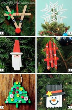 15 Easy Kids Christmas Crafts Keeping kids busy when it's cold outside is a task on its own! These 10 easy kids Christmas Crafts double as great gift as well as decor and keep them busy! Noel Christmas, Diy Christmas Ornaments, Christmas Gifts, Christmas Ideas, Ornaments Ideas, Handmade Christmas, Popcicle Stick Ornaments, Christmas Decorations For Kids, Christmas Crafts For Kids To Make At School