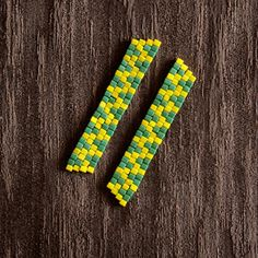 Yellow & Green Triangle Zig Zag Patterned Tribal Inspired Earrings