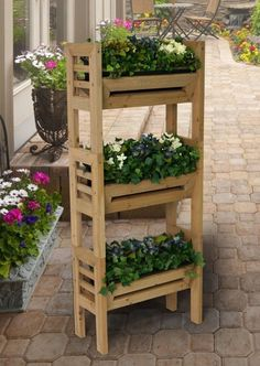 NEW Vertical Gardening Wood Planter Stand with Resin Garden Planters Plant Pots Wooden Plant Stands Indoor, Wooden Planters, Outdoor Planters, Wooden Garden, Diy Planters, Outdoor Gardens, Plant Table, Plant Pots, Potted Plants