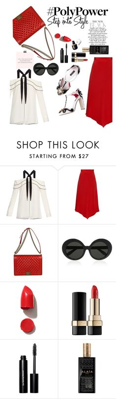 """redpower"" by nataskaz ❤ liked on Polyvore featuring Proenza Schouler, Juan Carlos Obando, Chanel, Linda Farrow, NARS Cosmetics, Dolce&Gabbana, Bobbi Brown Cosmetics, Alaïa and PolyPower"