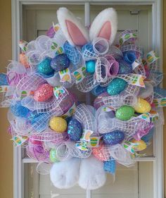 EASTER BUNNY WREATH Spring/ Pastel Wreath by OfftheWallKreations