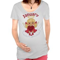Women's January Birthstone Angel Maternity Shirt