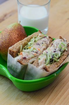 This CRUNCHY SWEET CHICKEN SALAD with a lightened up, lemony dressing is a wholesome, super-satisfying lunch idea. Delicious on sandwiches or wraps!