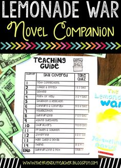 Reading the Lemonade War with many reading skill practice activities, projects to show the student's learning and quizzes for every chapter. This novel companion can be used through Google Drive or on paper!