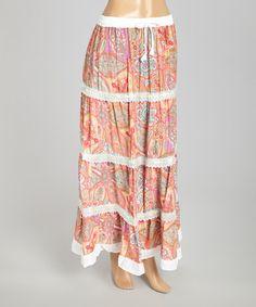 Look at this #zulilyfind! Pink & Red Paisley Peasant Skirt - Women #zulilyfinds