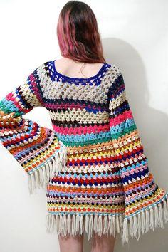 CROCHET DRESS Stripe frangia nonna piazza Flare Bell manica
