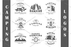 9 Camping logos templates by Art Design on @creativemarket
