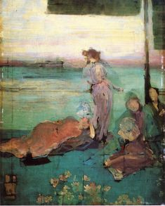 "James McNeill Whistler Sketch for ""The Balcony"" hand painted oil painting reproduction on canvas by artist James Mcneill Whistler, Renoir, Nocturne, Monet, Glasgow, Art Database, Oil Painting Reproductions, Art Uk, Art Abstrait"