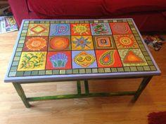 Upcycled Boho style coffee table by DooLallyAlleyArt on Etsy