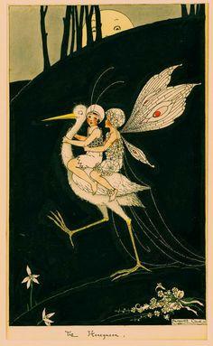 """Margaret Clark stork and fairies illustration - """"The Honeymoon"""" Art And Illustration, Alphonse Mucha, Art Magique, Australian Painters, Kobold, Inspiration Art, Poster Art, Vintage Fairies, Fairy Art"""