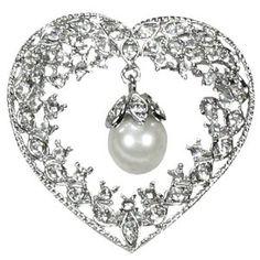 $33.45 Vintage Crystal Heart Pearl Drop Silver Tone Brooch Pin $33.45