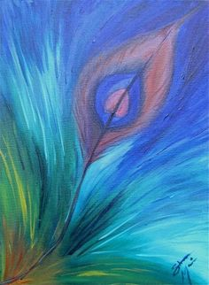 Peacock Passion acrylic peacock feather acryliccanvasgesso feather 12x16x2 blue Any Age Unisex