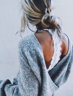 open back sweater and lace bralette