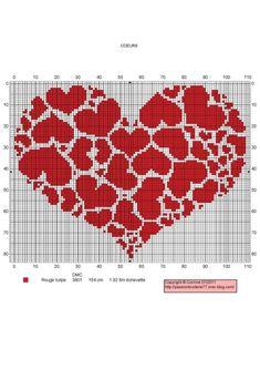 heart cross stitch pattern (no other info) Cross Stitch Heart, Counted Cross Stitch Patterns, Cross Stitch Designs, Cross Stitch Embroidery, Hand Embroidery, Heart Patterns, Beading Patterns, Embroidery Patterns, Tapestry Crochet