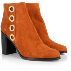 Chloé Suede Booties Sienna in brown, gold, orange, black, Boots &... ($320) ❤ liked on Polyvore featuring shoes, boots, ankle booties, ankle boots, black ankle booties, suede ankle booties, black suede boots, brown suede booties and brown booties