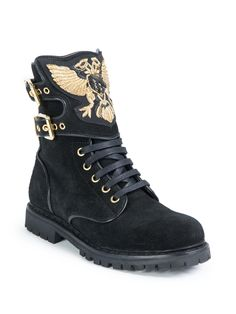 Balmain | Black Embroidered Suede Ranger Boots | Lyst