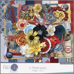 Patriotic This full size (300dpi, papers 3600px x 3600px) quality checked scrapbooking kit contains 18  papers and 54 elements. The elements (300dpi, .png files) consist of:  1 berries, 1 bottle cap, 1 box, 3 buttons, 1 candle holder, 2 charms, 1 drawer pull, 1 envelope, 2 ephemera, 14 flowers, 4 foliage, 4