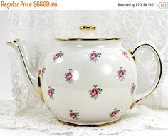 Sadler Tea Pot Chintz Teapot Vintage Porcelain by TheVintageTeacup