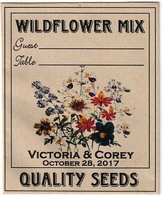 2017 Wedding Trends, Wedding 2017, Seed Wedding Favors, Thank You Messages, Seating Cards, Wildflower Seeds, Flowering Vines, Seed Packets, Wild Flowers