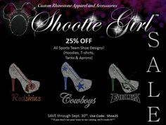 It's time to KICK-OFF the SAVINGS! Who needs a team jersey when you can SPARKLE! 25% off our team shoe designs through September 30, 2014. If you don't see your team in our catalog, we'll create it! http://bit.ly/1tX6j6D