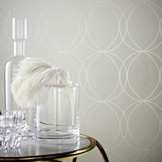 Savoy White and Mica Wallpaper by Graham & Brown