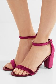 fba6b278867a Stuart Weitzman - NearlyNude patent-leather trimmed velvet sandals
