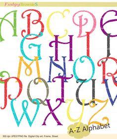 Digital clip art  set  Alphabet AZ  for invites by fudgybrownies