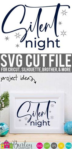 Make a farmhouse style Christmas sign or pillow your Cricut or Silhouette. Making projects is easy with this Christmas themed SVG file. Works with Cricut & Silhouette. Christmas Svg, Christmas Projects, Christmas Themes, Cricut Air, Cricut Tutorials, Silent Night, Svg Files For Cricut, Vinyl Lettering, Cutting Files