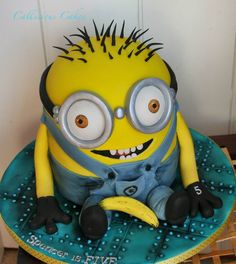 Minion Birthday Cake by Callicious Cakes, Stoke-on-Trent, UK. You'll find this Cake Appreciation Society Member in our Directory at www.cakeappreciationsociety.com