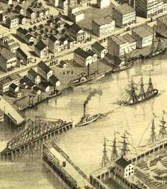 old maps of bay city, michigan | ... Birdseye View Map of Third Street Bridge, Bay City, MI / Bay-journal