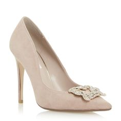 8bcc78273c0c DUNE LADIES BREANNA - Jewelled Square Brooch Pointed Toe Court Shoe - blush
