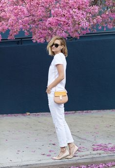 Spring style // casual white denim, pointy flats and Chloe Drew bag // LateAfternoonBlog