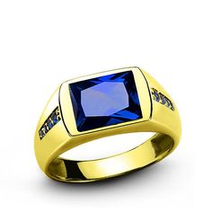 Men's Ring SOLID 10k YELLOW GOLD 3.40tcw Blue Sapphire Gemstone Fine Jewelry #Unbranded #Cocktail