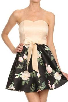 BOW DETAIL FLORAL PRINT STRAPLESS DRESS