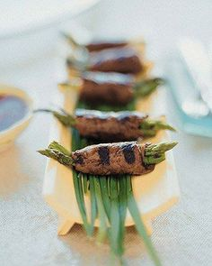 Beef and Asparagus Negimaki Recipe  #partyfood #lowcarb