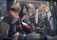 So cute team 7 giving presents to children for Christmas~