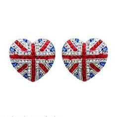 Butler & Wilson Heart Shape Union Jack Stud Earrings