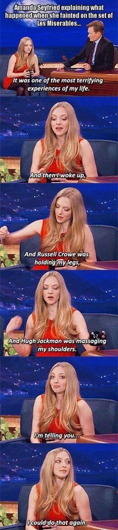 Amanda Seyfried On Conan funny celebrities tv celebrity tv shows female celebrities humor amanda seyfried conan