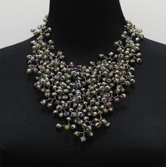 Dominga grey necklace $139 - stunningly delicate statement necklace made of iridescent grey german crystals, velvet ribbon closure