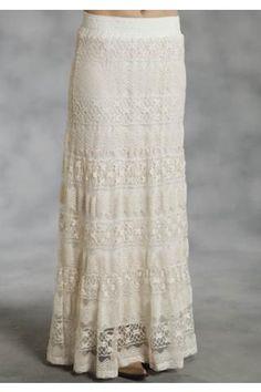 Roper Allover Lace 3 Tiered Skirt Studio West- Garden Bouquet Skirts Urban