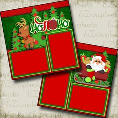 Christmas Premade Scrapbook pages! Just add photos to this layout! Complete your scrapbooks easily with our quick pages! Scrapbook Box, Christmas Scrapbook Layouts, Paper Bag Scrapbook, Birthday Scrapbook, Scrapbook Templates, Scrapbook Designs, Scrapbook Journal, Scrapbook Page Layouts, Scrapbook Stickers