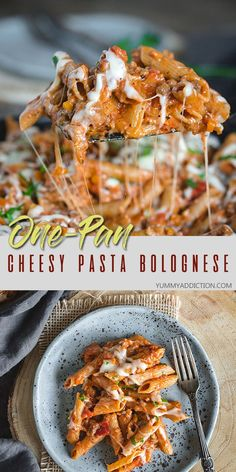 Instead of taking all day to make the authentic version of the Italian classic, make this one-pan cheesy pasta Bolognese. It is just as satisfying and requires so much less dishwashing. It's a perfect dish to add to your weeknight repertoire of simple, comforting meals with lots of flavor. #onepan #pasta #bolognese #cheese Rigatoni Recipes, Creamy Pasta Recipes, Seafood Pasta Recipes, Yummy Pasta Recipes, Dinner Recipes Easy Quick, Healthy Dinner Recipes, Noodle Recipes, Vegan Recipes, Easy Meals